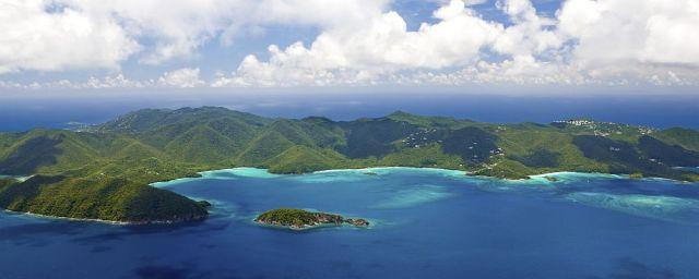 aerial view of the beaches, St. John, US Virgin Islands